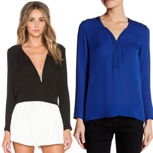 The Kooples Zip Neckline Silk Long Sleeve Blouse